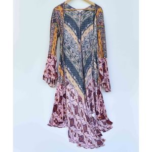 Anthro Boho Long Duster Cardigan Bell Sleeves